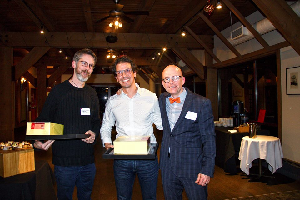 Juan Pablo Alperin (centre) at the Research Excellence Award ceremony with SFU Publishing Director John Maxwell and FCAT Associate Dean Stuart Poyntz
