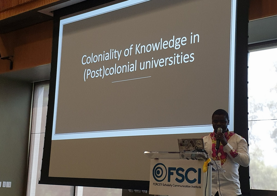 Thomas Hervé Mboa Nkoudou delivers his keynote at the FSCI plenary session. Image via Access Initiative