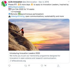 A tweet promoting Innovation Leaders