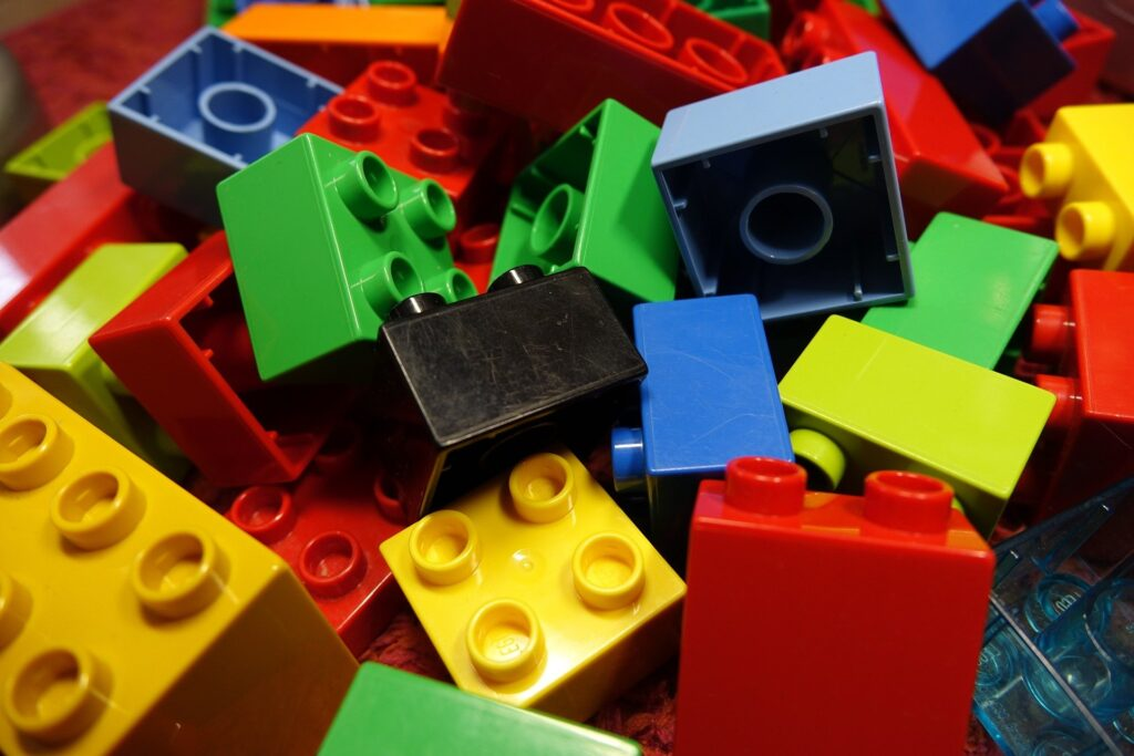 A colourful pile of lego blocks