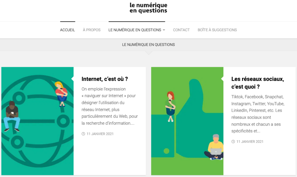 Home page of le numerique en questions, displaying various blog posts about digital information