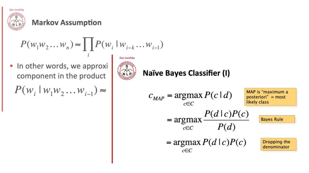 Image of Naive Bayes Classifier formulae and the Markov Assumption