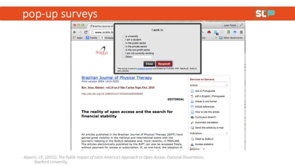 An example pop-up survey from Juan Alperin's doctoral research on the public impact of Latin America's approach to open access.