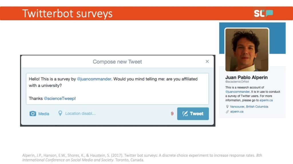 """A pop-up Twitter bot survey asking the question: """"Would you mind telling me: are you affiliated with a university?"""""""