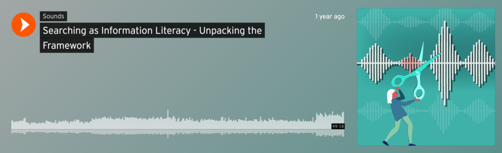 Screenshot of the soundcloud page for Leigh-Ann Butler and Lina Harper's Searching for Information Literacy podcast.