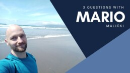 headshot of Mario Malicki, scholarly communications lab member, against an ocean background